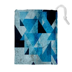 Plane And Solid Geometry Charming Plaid Triangle Blue Black Drawstring Pouches (Extra Large)