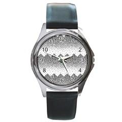 Original Plaid Chevron Wave Round Metal Watch