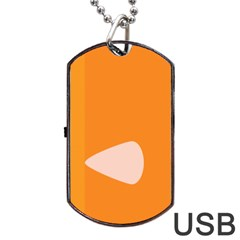 Screen Shot Circle Animations Orange White Line Color Dog Tag USB Flash (Two Sides)