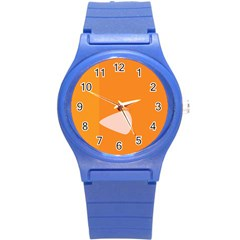 Screen Shot Circle Animations Orange White Line Color Round Plastic Sport Watch (S)