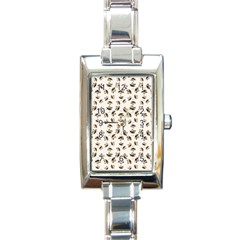 Autumn Leaves Motif Pattern Rectangle Italian Charm Watch