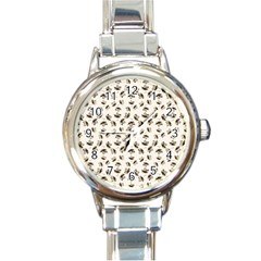 Autumn Leaves Motif Pattern Round Italian Charm Watch