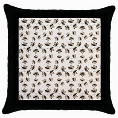 Autumn Leaves Motif Pattern Throw Pillow Case (Black)