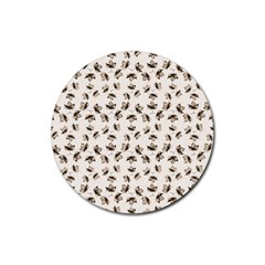 Autumn Leaves Motif Pattern Rubber Round Coaster (4 pack)