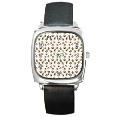 Autumn Leaves Motif Pattern Square Metal Watch