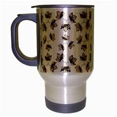 Autumn Leaves Motif Pattern Travel Mug (Silver Gray)