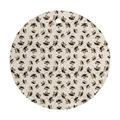 Autumn Leaves Motif Pattern Round Ornament (Two Sides)
