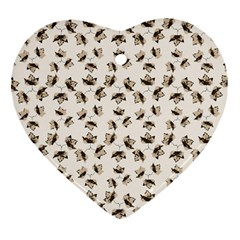 Autumn Leaves Motif Pattern Heart Ornament (Two Sides)