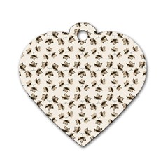 Autumn Leaves Motif Pattern Dog Tag Heart (One Side)