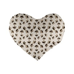 Autumn Leaves Motif Pattern Standard 16  Premium Heart Shape Cushions