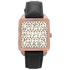 Autumn Leaves Motif Pattern Rose Gold Leather Watch