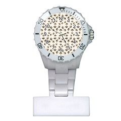 Autumn Leaves Motif Pattern Plastic Nurses Watch