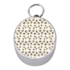 Autumn Leaves Motif Pattern Mini Silver Compasses