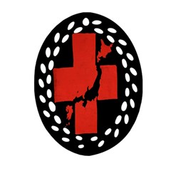 Sign Health Red Black Oval Filigree Ornament (Two Sides)