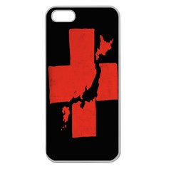 Sign Health Red Black Apple Seamless iPhone 5 Case (Clear)