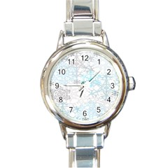 Sign Flower Floral Transparent Round Italian Charm Watch