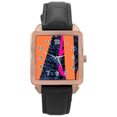 Recursive Reality Number Rose Gold Leather Watch