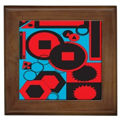 Stancilm Circle Round Plaid Triangle Red Blue Black Framed Tiles