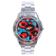 Stancilm Circle Round Plaid Triangle Red Blue Black Stainless Steel Analogue Watch