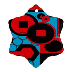 Stancilm Circle Round Plaid Triangle Red Blue Black Snowflake Ornament (Two Sides)