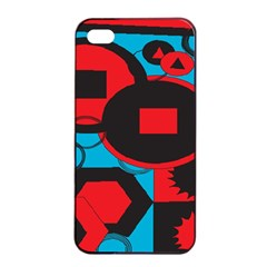 Stancilm Circle Round Plaid Triangle Red Blue Black Apple iPhone 4/4s Seamless Case (Black)