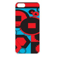 Stancilm Circle Round Plaid Triangle Red Blue Black Apple iPhone 5 Seamless Case (White)