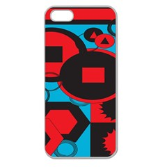 Stancilm Circle Round Plaid Triangle Red Blue Black Apple Seamless iPhone 5 Case (Clear)