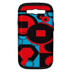 Stancilm Circle Round Plaid Triangle Red Blue Black Samsung Galaxy S III Hardshell Case (PC+Silicone)