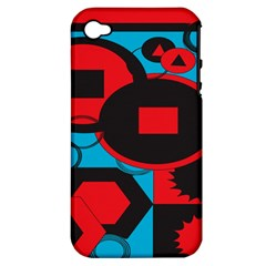Stancilm Circle Round Plaid Triangle Red Blue Black Apple iPhone 4/4S Hardshell Case (PC+Silicone)