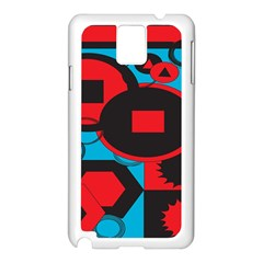 Stancilm Circle Round Plaid Triangle Red Blue Black Samsung Galaxy Note 3 N9005 Case (White)
