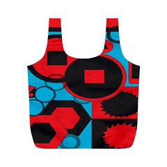 Stancilm Circle Round Plaid Triangle Red Blue Black Full Print Recycle Bags (M)