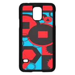 Stancilm Circle Round Plaid Triangle Red Blue Black Samsung Galaxy S5 Case (Black)
