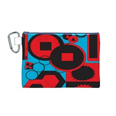 Stancilm Circle Round Plaid Triangle Red Blue Black Canvas Cosmetic Bag (M)