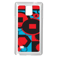 Stancilm Circle Round Plaid Triangle Red Blue Black Samsung Galaxy Note 4 Case (White)