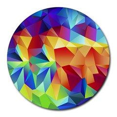 Triangles Space Rainbow Color Round Mousepads