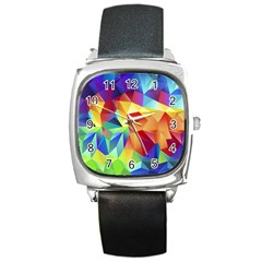 Triangles Space Rainbow Color Square Metal Watch