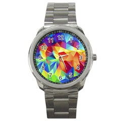 Triangles Space Rainbow Color Sport Metal Watch