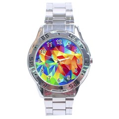 Triangles Space Rainbow Color Stainless Steel Analogue Watch