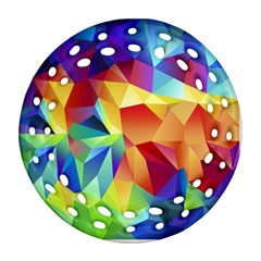 Triangles Space Rainbow Color Round Filigree Ornament (Two Sides)