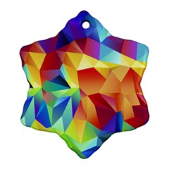 Triangles Space Rainbow Color Snowflake Ornament (Two Sides)