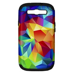Triangles Space Rainbow Color Samsung Galaxy S III Hardshell Case (PC+Silicone)