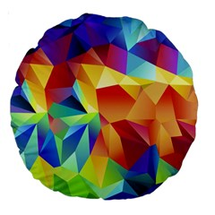 Triangles Space Rainbow Color Large 18  Premium Round Cushions