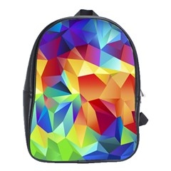 Triangles Space Rainbow Color School Bags (XL)