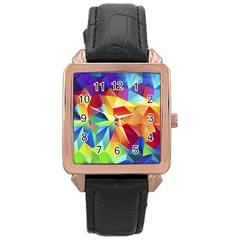 Triangles Space Rainbow Color Rose Gold Leather Watch