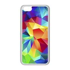 Triangles Space Rainbow Color Apple iPhone 5C Seamless Case (White)