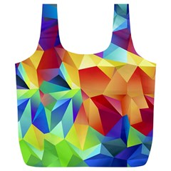 Triangles Space Rainbow Color Full Print Recycle Bags (L)