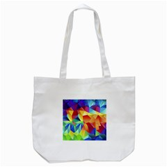 Triangles Space Rainbow Color Tote Bag (White)