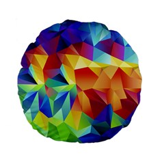 Triangles Space Rainbow Color Standard 15  Premium Flano Round Cushions