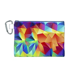 Triangles Space Rainbow Color Canvas Cosmetic Bag (M)