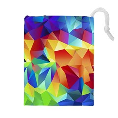 Triangles Space Rainbow Color Drawstring Pouches (Extra Large)